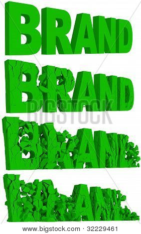 Crumbling and destruction of the word Brand