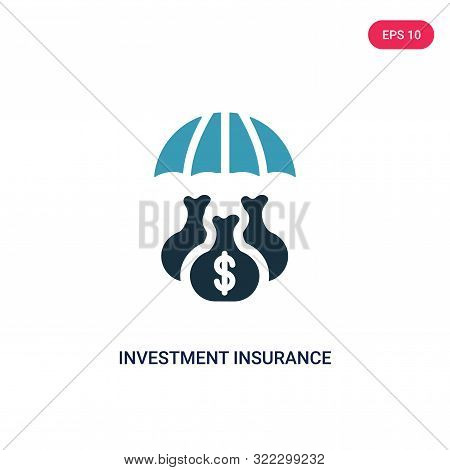 poster of investment insurance icon in two color design style.