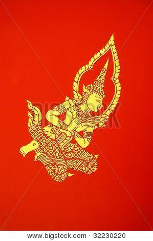 Mural de Deva en el pabellón del templo Chiang Mai