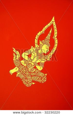 Deva Wandgemälde im Tempel Pavillion Chiang Mai