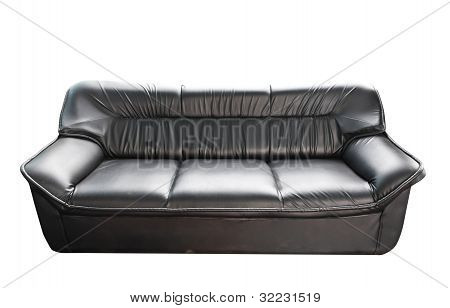 The Black Leather Sofa Isolated On White
