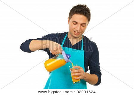 Happy Chef Man Pouring Orange Juice
