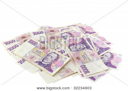 Czech Banknotes Nominal Value One And Two Thousand Crowns