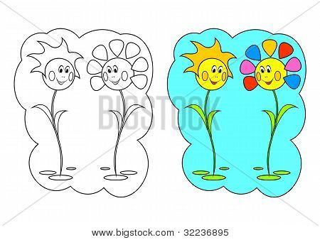 The Picture For Coloring. Flowers.