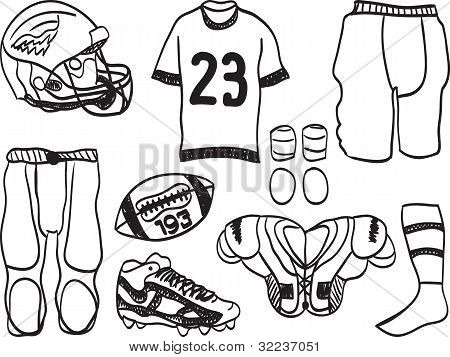 American Footbal Equipment - Hand-drawn Illustration