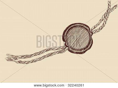 Blank wax seal vector llustration
