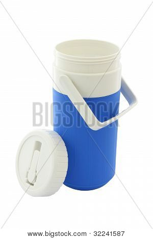 Small blue can plastic cooler opened cover on white background.
