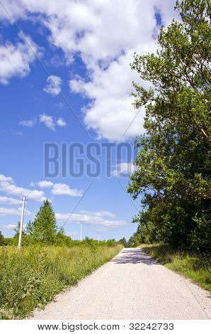 Rural Gravel Road Between Meadow And Forest
