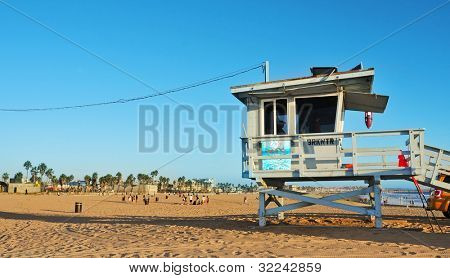 VENICE, US - OCTOBER 17: Lifeguard tower in Venice Beach on October 17, 2011 in Venice, US. Venice Beach is the headquarters of Los Angeles County Lifeguards, that has 158 lifeguard towers like this