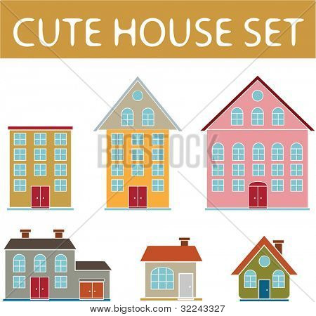 6 cute vector house icon set part 2