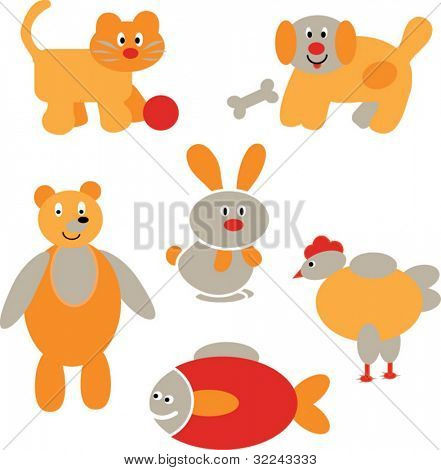 funny animals vector baby set 2