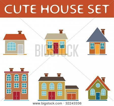 6 cute vector house icon set part 3