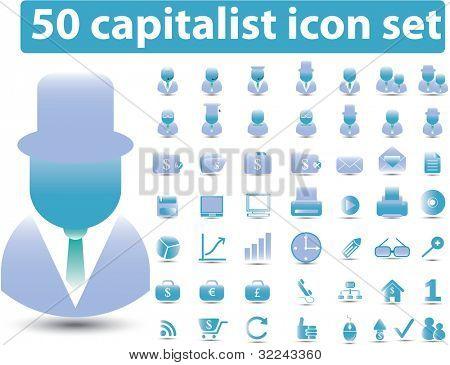 50 capitalist icons vector set