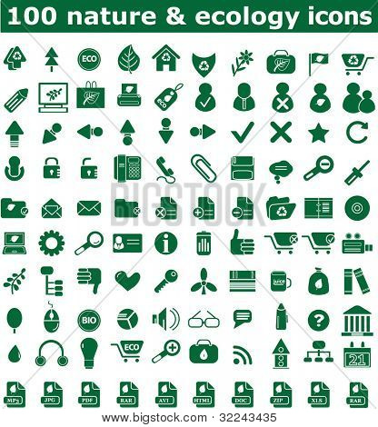 100 nature and ecology icon set vol. 14 - vector, easy edit