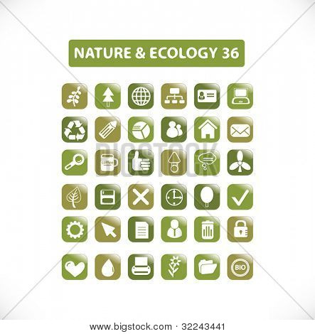 nature and ecology icon set 36 vol. 15 - vector, easy edit