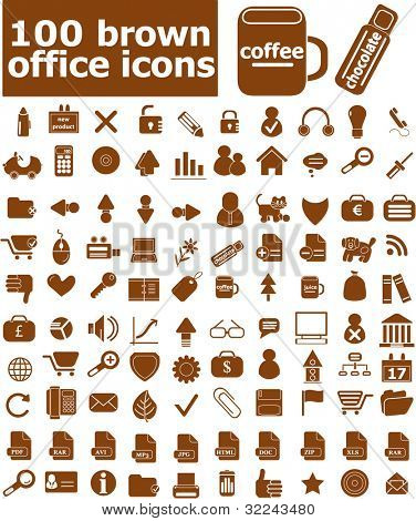 100 brown office icons - vector set (easy edit)
