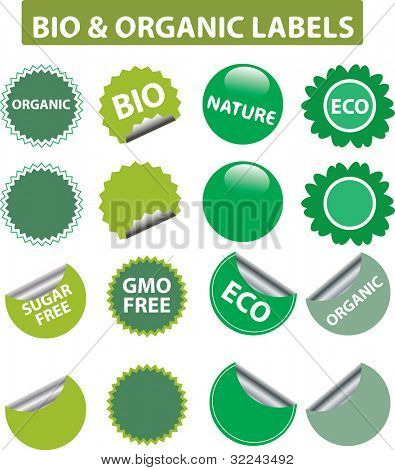 bio and ogranic labels - vector set