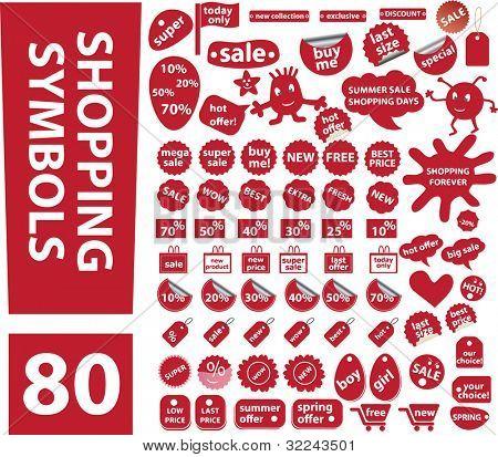 80 red summer-spring shopping symbols vector set