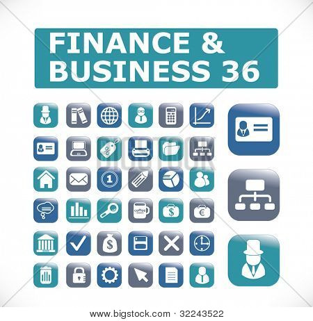 36 finance & business vector buttons-icons (easy edit)