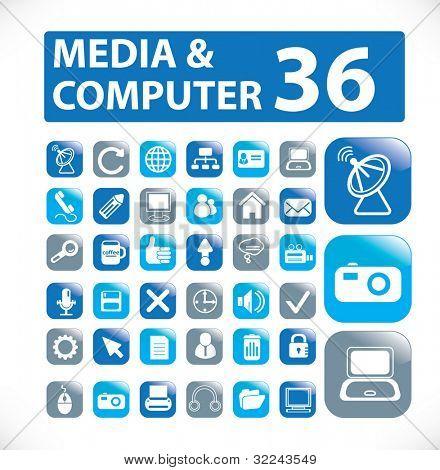 36 media and computer web icon - vector set