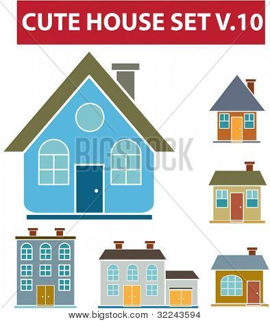 cute house set v.10 - vector easy to edit
