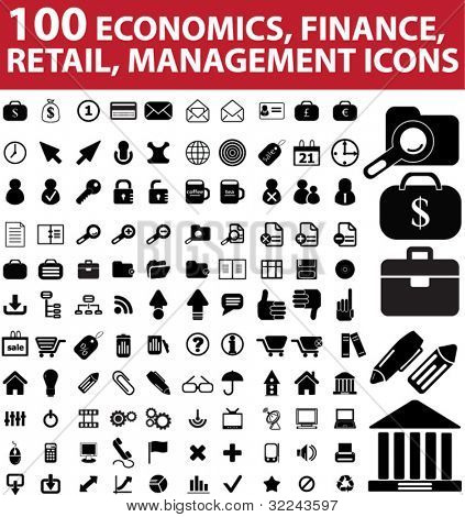 100 economics, finance, retail, management icons