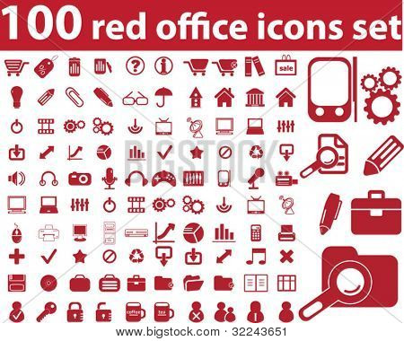 100 red office icon set - v.14