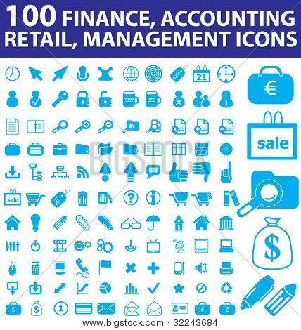 100 blue finance, accounting, retail, management icons - vector set v. 25