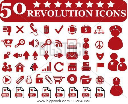 50 revolution icons - vector set