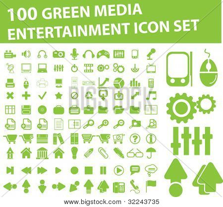 100 green media, entertainment icon vector set