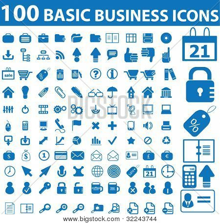 100 basic business icons - vector set