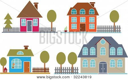 4 cute family houses - vector set # 24