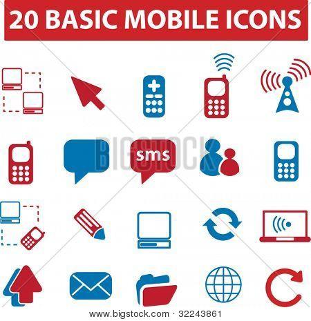 20 basic mobile icons