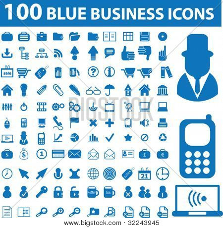 100 blue business icons - vector set