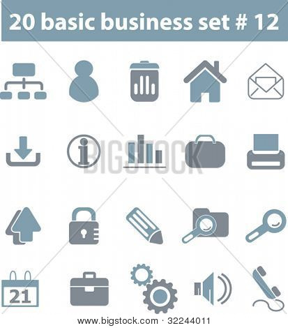 20 basic business icons # 12 - vector set