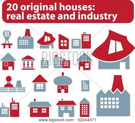 20 Immobilien und Industrie Zeichen vector set