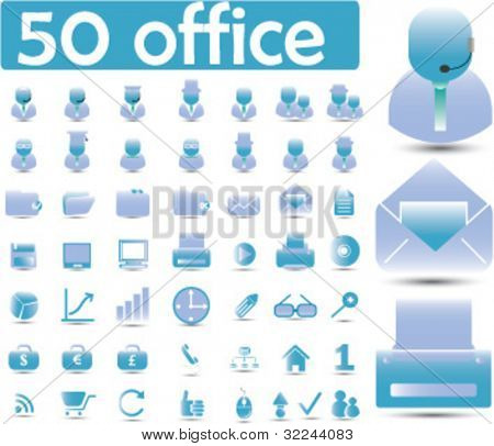 50 glossy office icons