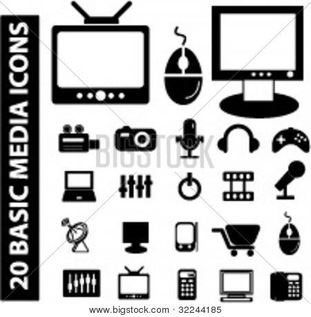 20 basic media icons