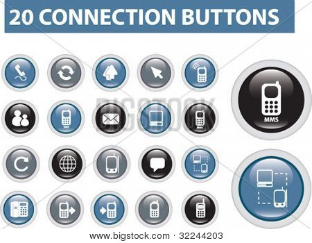 20 connection buttons - vector set