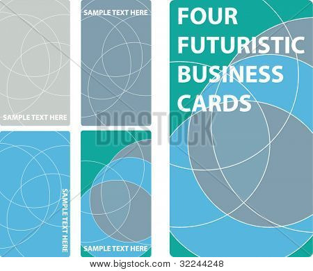 4 business cards template - futuristic concept. vector