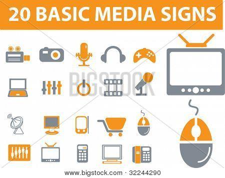 20 basic media vector icons set