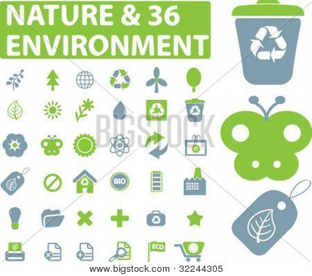 36 muestras de naturaleza y medio ambiente - vector