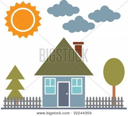 small family house landscape. vector. see more in my portfolio