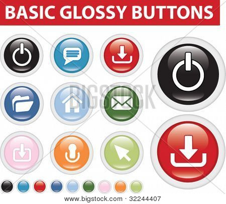 basic website glossy vector buttons