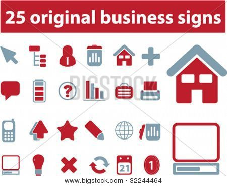 25 original business signs. vector. red-blue series.