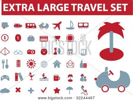 extra large travel set. vector. red-blue series.