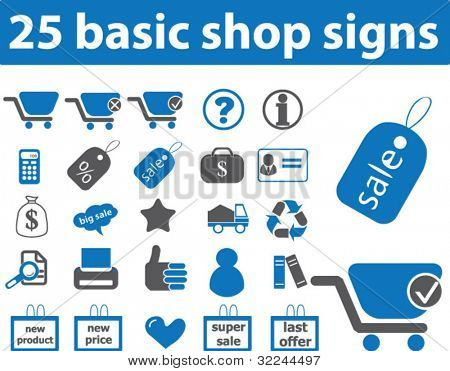25 shop icons.vector.blue series