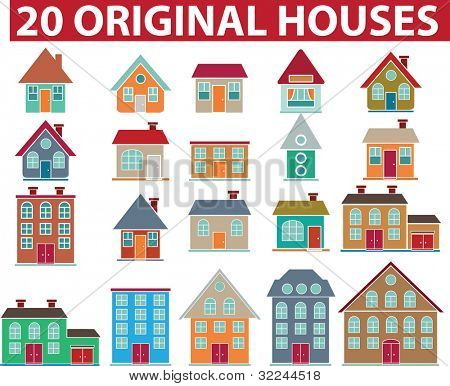 20 original bunte houses.vector