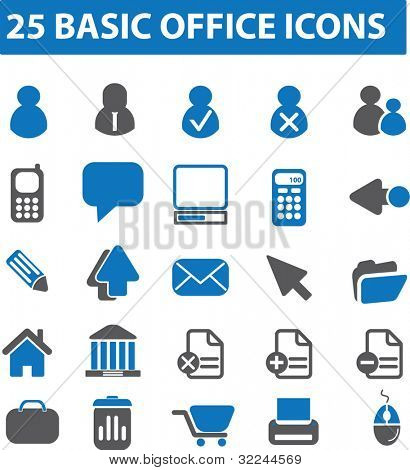 25 basic office icons. vector. blue series.