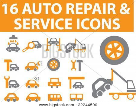 16 auto repair & service icons.#1. vector